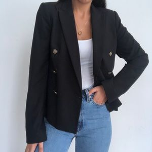 Zara Women double breasted black blazer jacket S